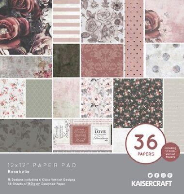 "Kaisercraft 'rosabella' 12x12"" Paper Pad 36 Sheets Roses (18 Designs X2) Kaiser"