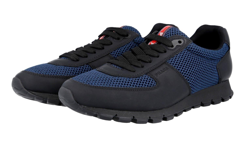 AUTH PRADA SNEAKERS SHOES 4E2700 BLACK blueE RUBBERIZED NEW US 7 EU 40 40,5