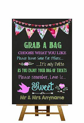 Bright Chalkboard Style Love Is Sweet Candy Buffet Personalised Wedding Sign