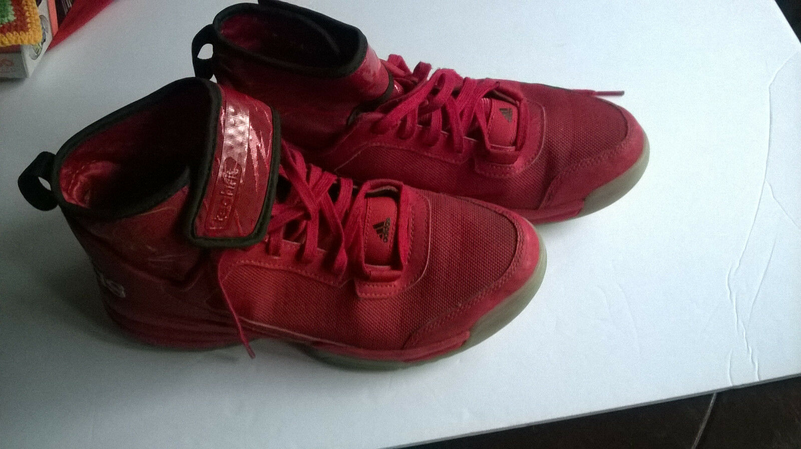 ADIDAS Dual Threat TechFit Red Athletic Basketball Shoes Sneakers  Comfortable Cheap and beautiful fashion