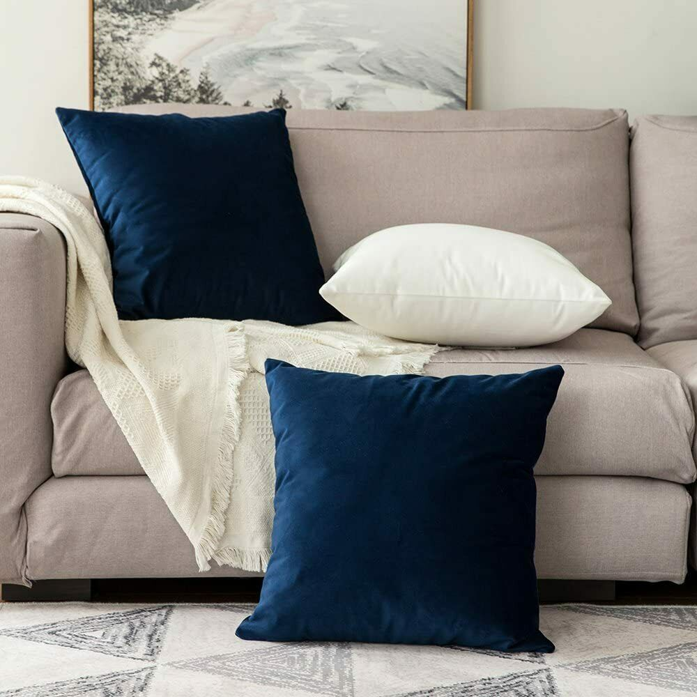 Miulee Velvet Soft Soild Microfiber Decorative Square Pillow Case.Set of Two.