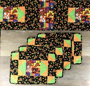 Halloween-Handmade-Table-Runner-Placemats-Set-of-4-Quilted-Orange-Black