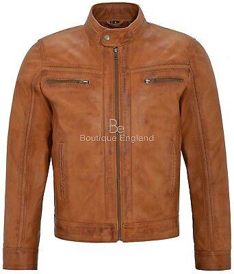 Men/'s Real Leather Jacket Brown Napa  Short Bomber Biker Motorcycle Style 7862