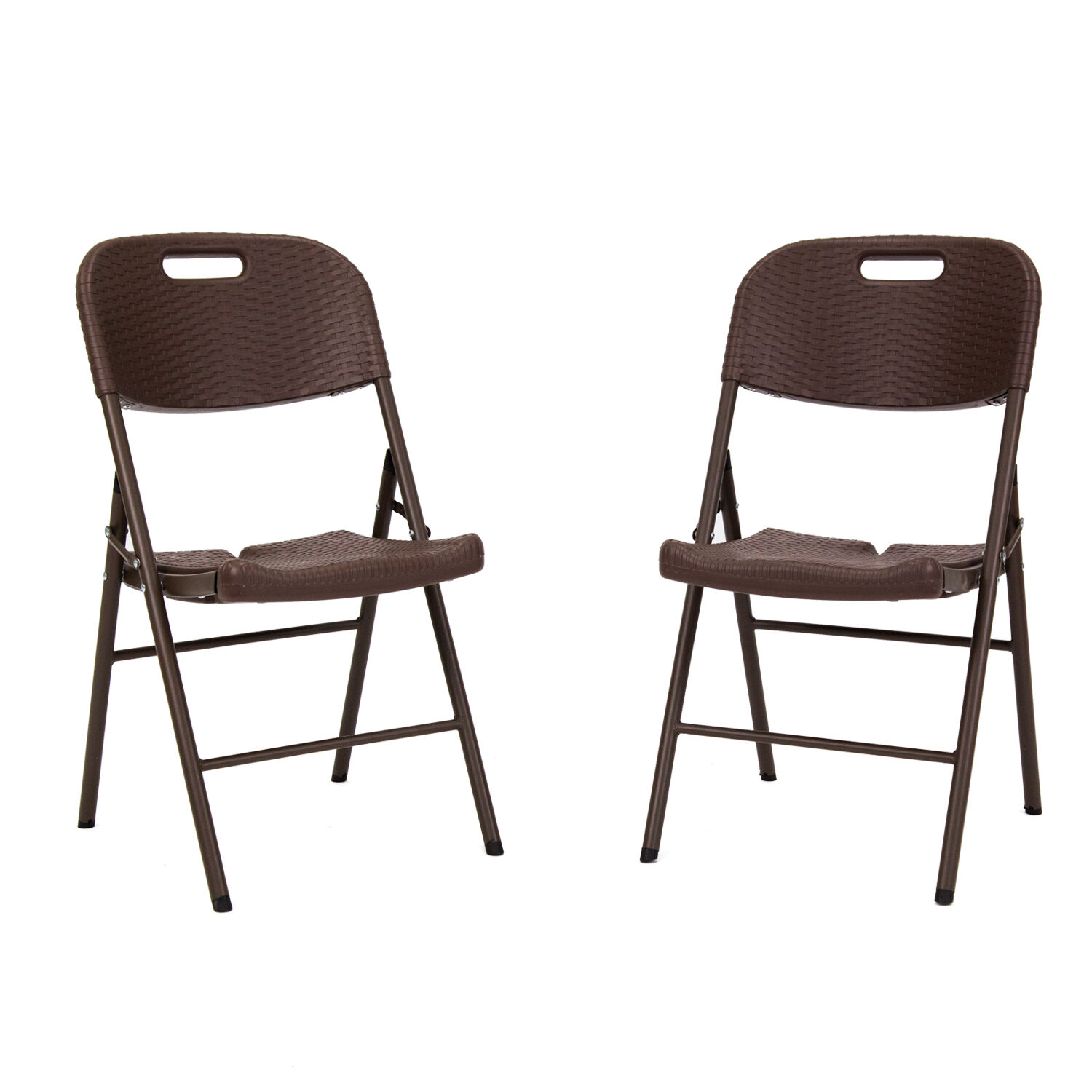 2Pcs Portable Chairs Set Rattan  Design Folding Picnic Chair Party Camping Brown  offering 100%