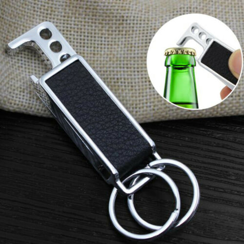 Carabiner Hook Black Faux Leather Keychain Bottle Opener Suppplies LH