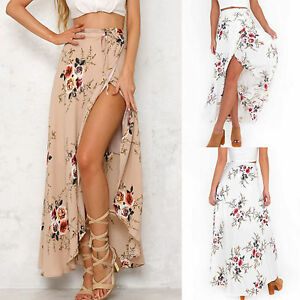 UK-Womens-High-Waisted-Floral-Bodycon-Slit-Ladies-Summer-Long-Maxi-Skirt-Dresses