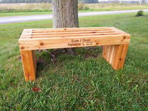 Excellent Details About Handmade Rustic Outdoor Indoor Cedar Wooden Bench Memorial Bench Patio Deck Evergreenethics Interior Chair Design Evergreenethicsorg