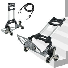 Climbing Stair Cart Folding Hand Truck Portable Trolley 6 Crystal Wheel Ropes