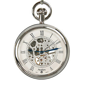 avalon 17 jewel silver tone mechanical skeleton pocket watch w chain