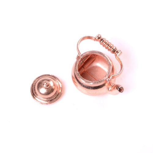 Casa de muñecas en miniatura de cobre de 1//12 Hervidor de Agua Té//Tetera juguetes clásicos para la muñeca