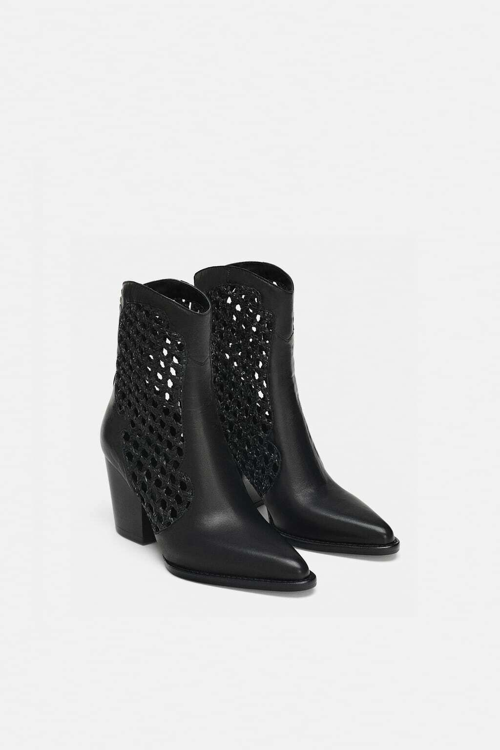 ZARA OPEN WEAVE COWBOY ANKLE BOOTS BEAUTIFUL BLACK SZ US US US 10 EUR 41 NEW dfb855