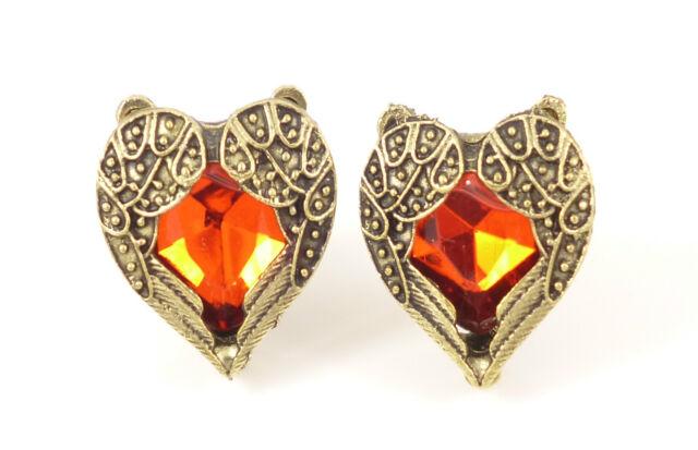 Vintage Antique Bronze Red Heart Gem Angel Wings Jewellery Stud Earrings