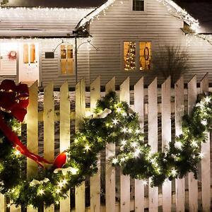 tannen haus garten terrassen girlande weihnacht deko 8 meter 120 led warmweiss. Black Bedroom Furniture Sets. Home Design Ideas