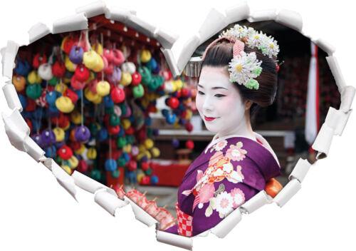 3D-Look Herz Wandtattoo Aufkleber-Sticker Anmutige Geisha mit Fächer