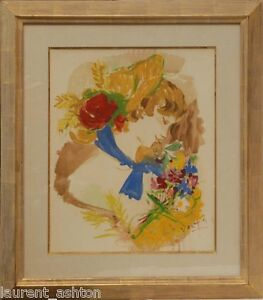 MARCEL-VERTES-ORIGINAL-WATERCOLOR-GOUACHE-IMPRESSIONIST-WOMAN-WITH-FLOWERS