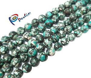 60-Tuerkis-mosaik-Perlen-6mm-Rund-Edelstein-Halbedelsteine-Schmuckstein-BEST-G6