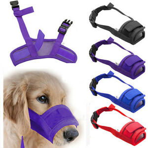 Adjustable-Dog-Mask-Bark-Bite-Mesh-Mouth-Muzzle-Grooming-Anti-Stop-Chewing-OZ