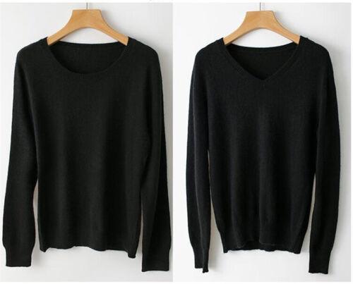 Women/'s V-neck Cashmere Blend Sweater Crewneck Knitted Sweaters Winter S-XXXL