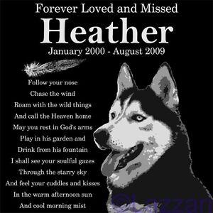 Personalized Siberian Husky Dog Pet Memorial 12in Granite Grave Marker Headstone