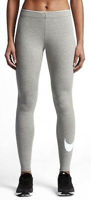 FäHig New Womens Nike Club Logo 2 Gym Sports Workout Fitted Leggings - Grey And White
