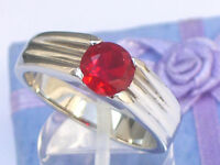 7 Mm 2.30 Ct. 316 Stainless Steel Solitaire July Ruby Red Stone Men Ring Size 12