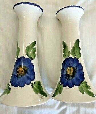 Ceramica Candela Sticks Contenitori Bianco Fiore Blu Dipinto A Mano Unico Global