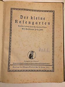 """Fritz Jöde :"""" Der kleine Rosengarten """" Volkslieder von Hermann Löns - Alte Noten"""