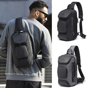 Charging-Port-Water-Resistant-Day-Chest-Pack-Sling-Bag-One-Single-Strap-Backpack
