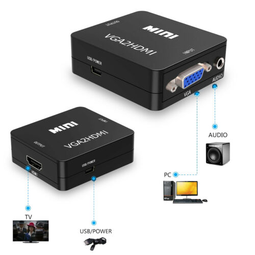 1080P Full HD Mini VGA to HDMI Audio Video Converter With USB Cable HDTV for PC