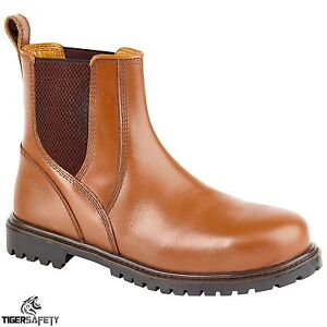 Samson-7046-S3-src-Brown-Redskin-steel-toe-Chelsea-concessionnaire-bottes-de-securite-travail-botte