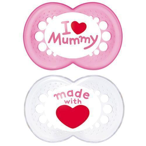 boys or girls  bpa free Mam  Style Soother   I Love Mummy//Daddy   age 6m