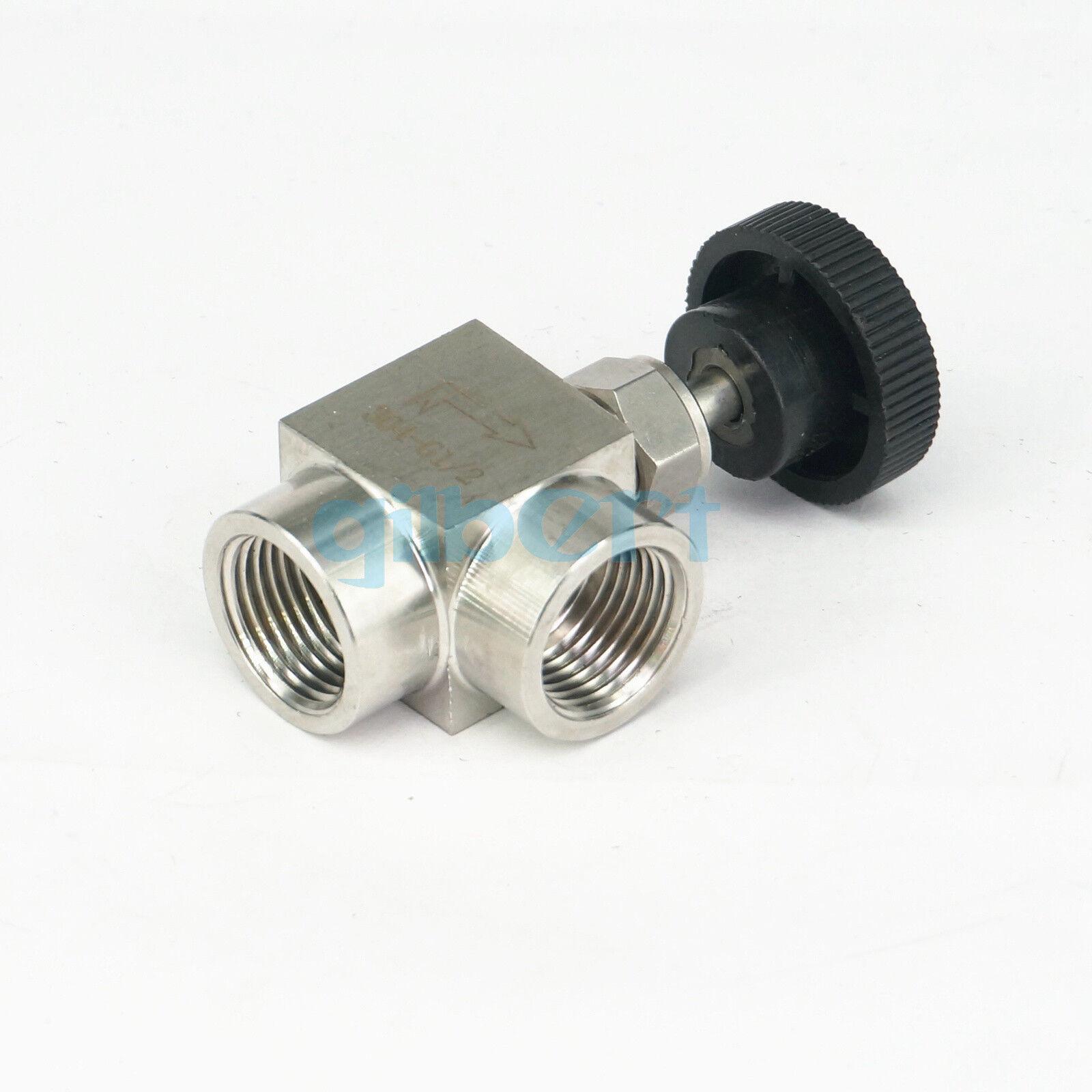 YINGJUN Valves 1//2 inch BSP Equal Female Thread 304 Stainless Steel Flow Control Shut Off Needle Valve