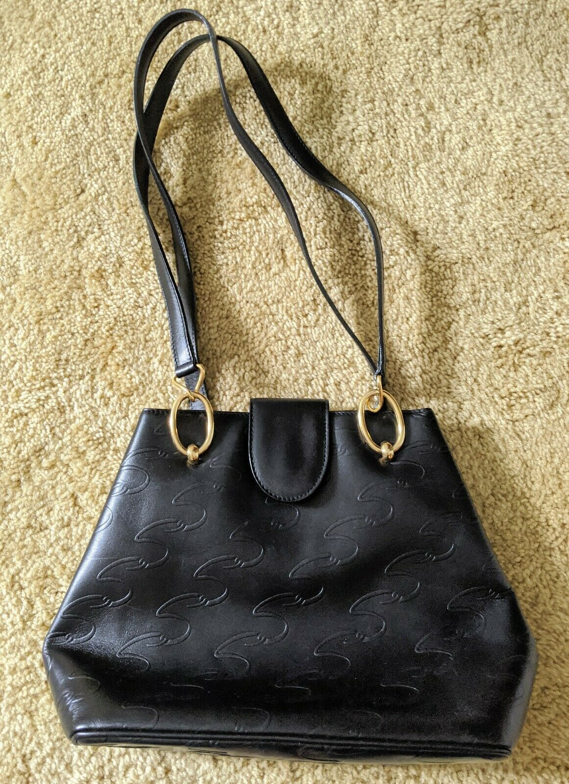Vintage Arnold Scaasi Purse Italian Leather Black… - image 1