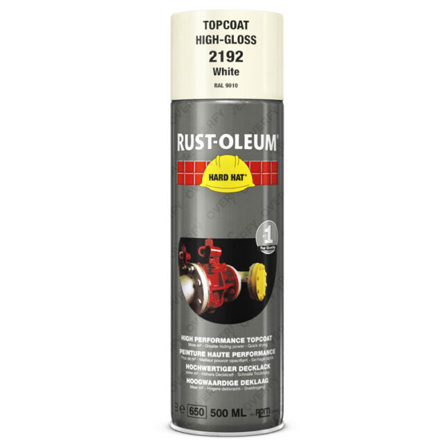 X1 Ultra Haut Couverture Rust-Oleum Blanc Brillant Spray Peinture Rigide Hat Ral