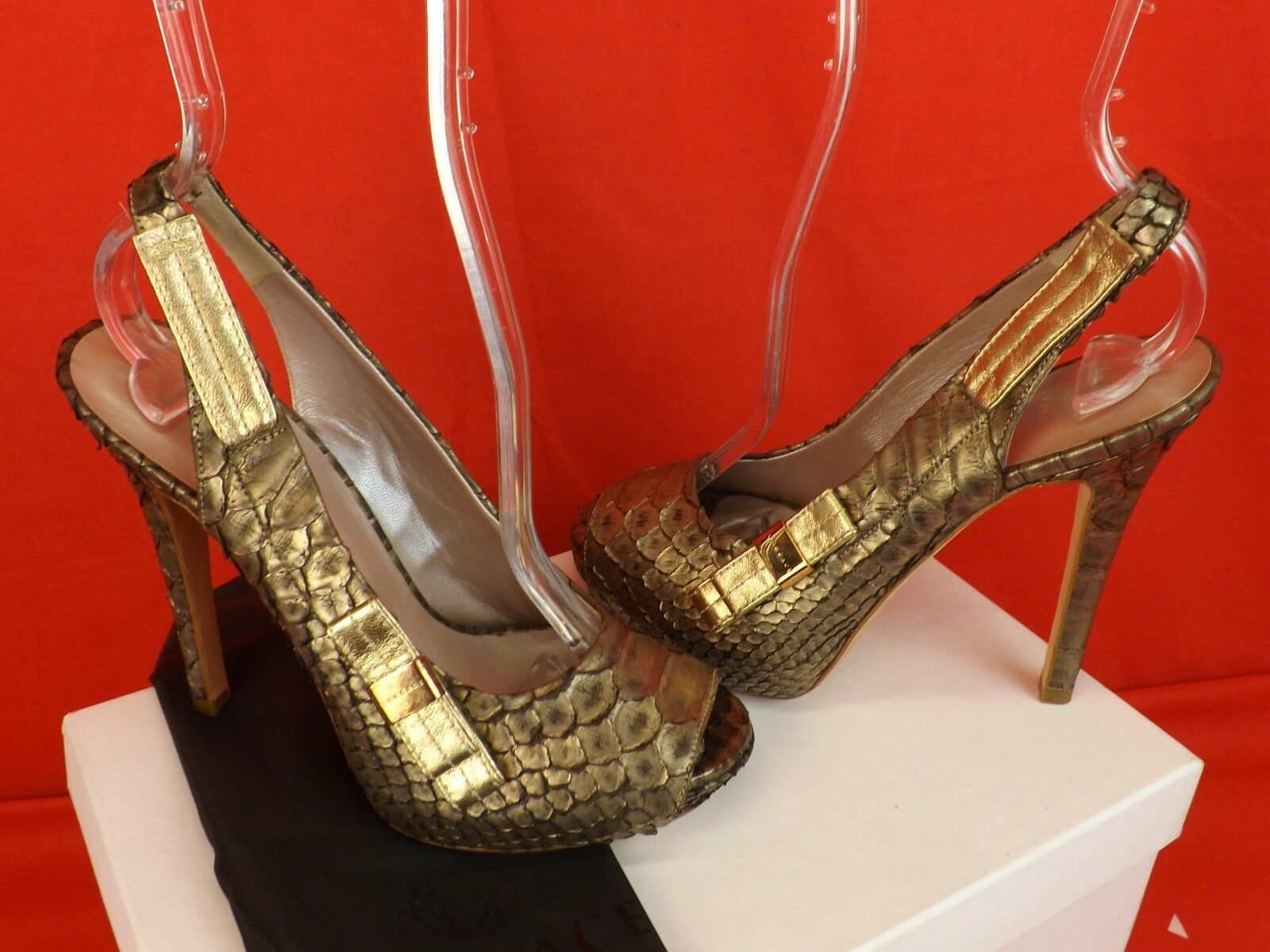 NIB VERSACE BRONZE PYTHON LEATHER PEEP TOE BOW BOW TOE LOGO PLATFORM SANDALS PUMPS 36 8208eb