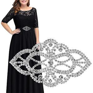 Silver-Motif-Rhinestone-Diamante-Crystal-Sew-on-Applique-Bridal-Dress-Jewellery