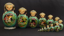 """Vintage Collectable """"Russian  Fairy Tales"""" Nesting  Doll 15 pc 11"""" Signed 1994"""