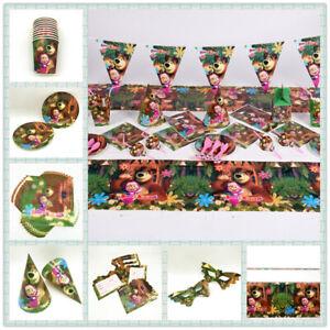 Masha-and-The-Bear-Birthday-Party-Supplies-Sac-Vaisselle-Assiettes-Tasses-Serviette-decor