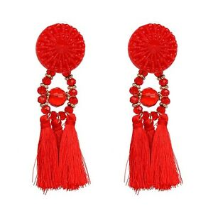 Image Is Loading Zara Red Tel Dangle Drop Stud Earrings