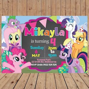 Personalised My Little Pony Party Kids Invitation Invites Digital