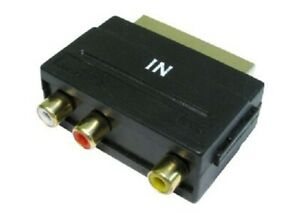 Scart plug IN only 3xRCA sockets adaptor (Nickle) CabledUp UK