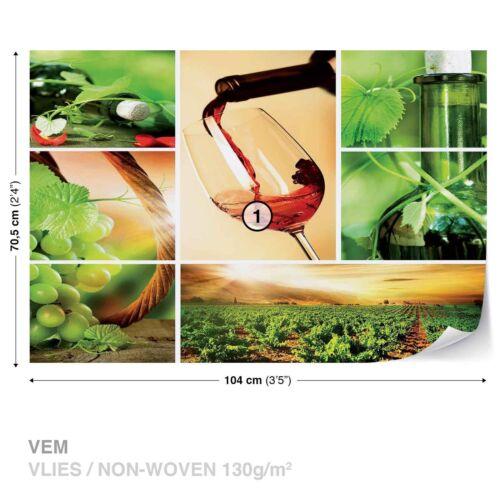 Tapete Fototapete für Küche Rotwein Weinglas Weingarten Weinberg Weintrauben