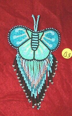 Barrette Beaded Butterfly w Fringe  French clip closure Hair accessory #07