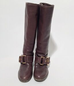 d588cc59b Dolce And Gabbana Size 40/10 Ladies Brown Pebbled Leather Knee-High ...