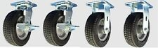 8 Inch Flat Free Caster Set 2 Swivel With Brakes 2 Ridged Free Shipping