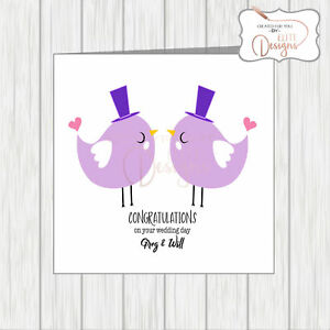 Image is loading Gay-LGBT-Wedding-Congratulations-Quirky -Card-Lovebird-Grooms- 6e5fbce5078