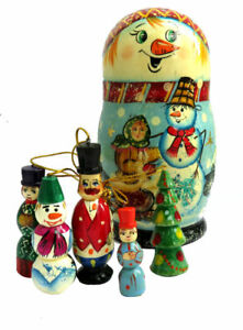 MATRIOCHKA-PEINTE-A-LA-MAIN-BOULES-DE-NOEL-DECORATION-DE-NOEL