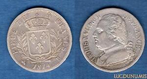 5-Francs-Louis-XVIII-Buste-Habille-1814-B-Rouen-TB