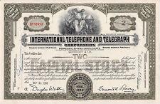 VINTAGE BLACK TELEPHONE STOCK BOND CERTIFICATE IN EXC. COND.