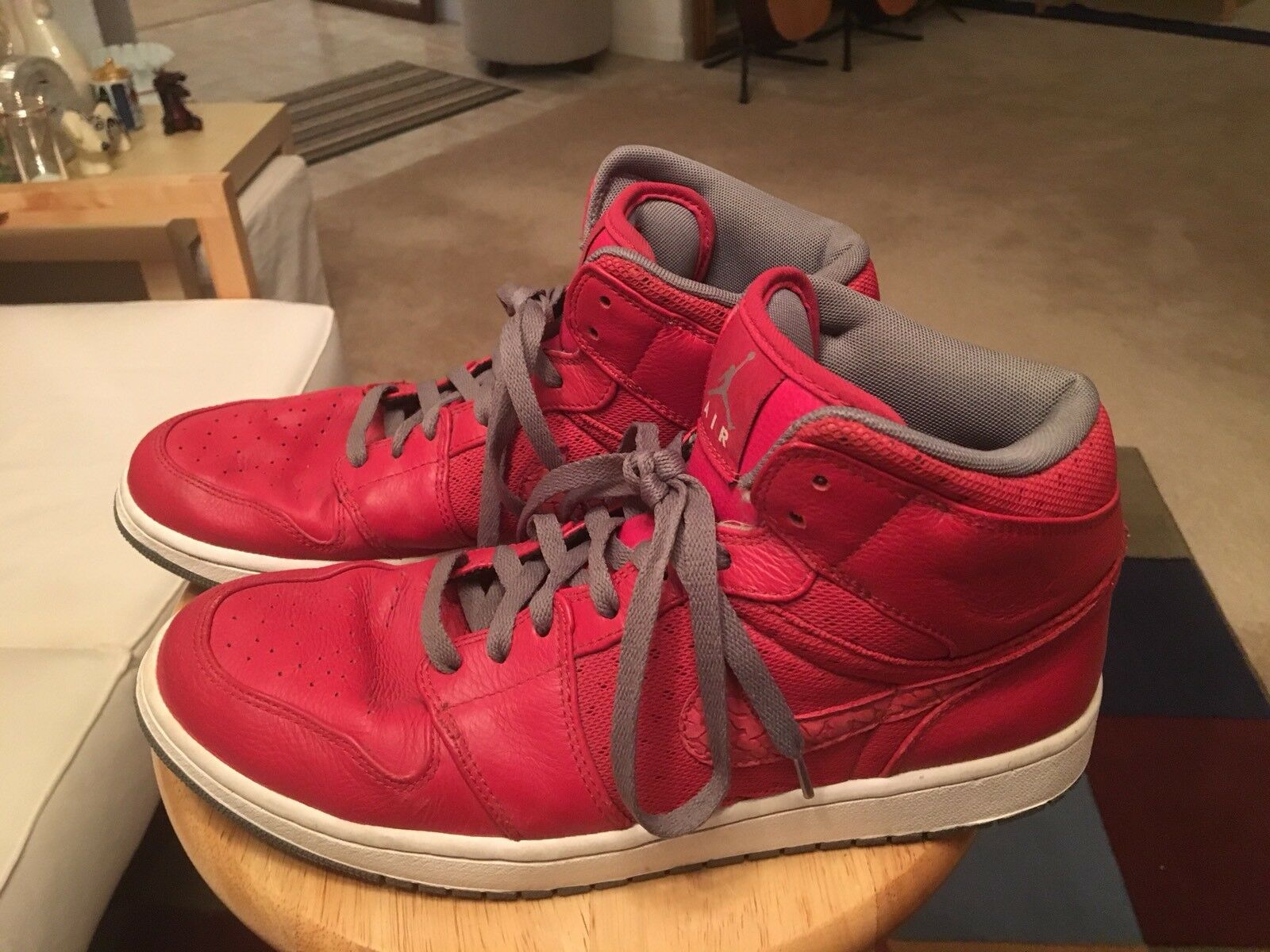 Nike Air Jordan Red/Grey & White Trim Mens US12 Leather Athletic Sneakers Shoes